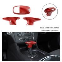 Red Carbon Fiber ABS автомобилей переключения передач Крышка Накладка для Dodge Charger / Challenger 15 лет + / Durango 18 лет +