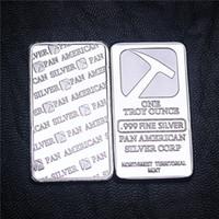 Amerikan Pan American 1OZ 999 Gümüş Kaplı Kaplama Külçe Bar ABD Metal Souvenir sikke çubuğu DHL Ücretsiz Kargo 50Pcs / Lot