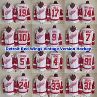 Hockey Versão Detroit Red Wings Vintage Jersey 4 Mark Howe 5 Nicklas Lidstrom 7 Ted Lindsay 9 Gordie Howe 10 Alex Delvecchio costurado