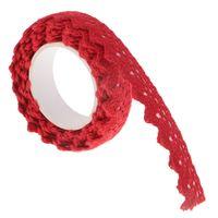 2 Yards Baumwollspitze Washi Klebeband Self Adhesive Sticky Band Trim für Geschenkverpackung Craft machen Karte, die Dekoration Rot / Weiß 15 mm Breite