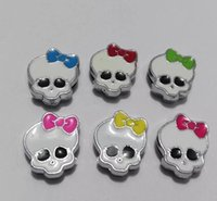 Halloween mix de cores monstro crânio 8mm slides Encantos Fit Pet Cat Dog Tag Collar pulseira acessório DIY