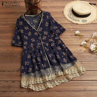 2020 ZANZEA Fashion Summer Printed Tops Women's Lace Stiching Blouse Casual Short Sleeve Tunic Female V Neck Blusas Plus Size