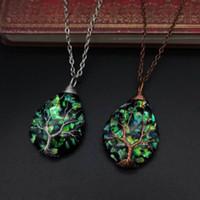 Natürliche Stein Halskette für Frauen Drop Shape Pearl Shell Anhänger Neue Opal Blau Rosa Grün Steine Halsketten Edelstein Weibliche Schmuck