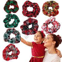 2020 di Natale Plaid Cravatte Scrunchies delle ragazze delle donne elastiche dei capelli corda Holder Banda del fiocco di neve Coda di cavallo Scrunchy Grande D91504 Intestino Hairbands