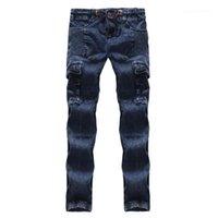 Хлопок Tether Мужской одежды синего цвета с плиссированной Мужские джинсы карандаш Regular Mid талии Дизайнерские мужские брюки