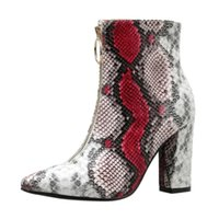 vente-Femmes Hot Chaussures à talon de bout pointu Square-Bottines Zipper Sexy Bottes Courtes