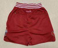 Yeni Şort Takım Şort Şort Vintage Futbol Şort Fermuar Cep Koşu Giysileri 49 Kırmızı Renk YAPILAN BOYUTU S-XXL