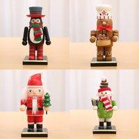 Рождественский кукольный орнамент Деревянная Окрашенный Санта-Клаус Снеговик Penguin Gingerbread куклы Таблица украшения Дети Подарочные игрушки