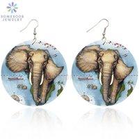 SOMESOOR impression Afro Elephant Goutte en bois Boucles d'oreilles des animaux d'Afrique Eco Design Carte Grande Dangle boucle d'oreille Bijoux Cadeaux Femmes