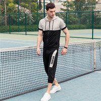 Mens Hooded Tracksuit Short Sleeve Casual Tshirt With Zipper Loose Short Homme Summer Running Sports Suit