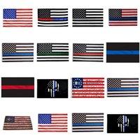 90 * 150cm BLUELINE ABD Polis Bayraklar 2 Değişiklik Vintage Amerikan Bayrağı Polyester İnce Blue Line ABD Bayrak CYZ2819