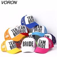VORON sposa di essere Team Bride Bachelorette Cappelli Donne Wedding Preparewear Trucker Caps bianco neon estate maglia di spedizione gratuita