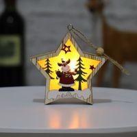 Jul trä prydnad trä pentagram lysande santa snögubbe hjort hängsmycke god jul trä dekoration ljus gge1697