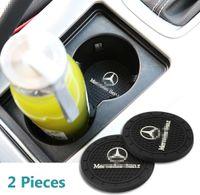 2PCS 2,75 pouces robuste Mercedes Benz Logo Holder Véhicule Voyage Coupe d'insertion automatique Anti Slip Coaster Can pour Mercedes Benz Décoration