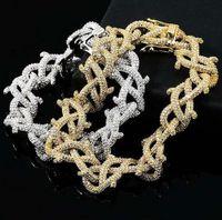 Luksusowe Męskie Hip Hop Złoto Srebrny Kolor 15mm Diamentowy Spike Braclet Infinity Link Braciets Bangle Micro Pave Cubic Cyrkon 7 Inch 8 Inch