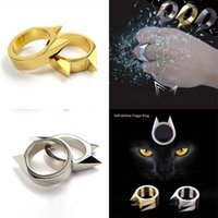Fashion 1PC Portable Finger Self-defense Men Women Safety Survival Broken Window Cat's Ear Self Defense Ring Tools On Sale