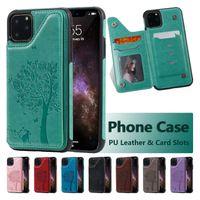 iPhone 12 미니 11 Pro x XR XS Max Samsung Galaxy S20 Ultra Cat Tree 엠보싱 PU 가죽 브래킷 보호 케이스