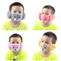 Niños lindo del oído de la boca máscara protectora del oso Animales Diseño 2 en 1 Máscaras Niño invierno cara de los niños Boca-mufla a prueba de polvo