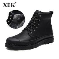 Bottes Xek 2021 Chaussures en cuir de haute qualité Hommes Hiver Top Hiver Top chaud Velvet Taille de la neige 47 ZLL545