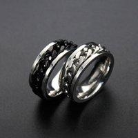 Anneaux de cluster 8mm Rotables Or noir Couleur Argent 316L En acier inoxydable Cocktail Engagement Chaîne des doigts pour femme homme bijoux