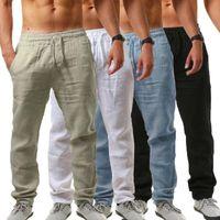 الرجال القطن الكتان الرياضة سروال طويل بانت بنطلون مطاطا جيوب الرباط سروال ذكر السراويل تنفس الصلبة