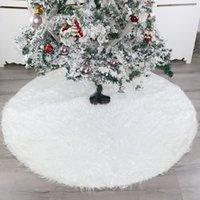 Decoraciones de Navidad 48 pulgadas Falda de árbol de peluche blanco delantales Alfombra para el hogar Año Navidad Decoración