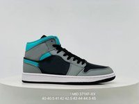 1 Mid Высвобождение в черной серой и Aqua Blue серых синих черных новых 1s Средние свет дым мужчины женщина баскетбол обувь