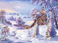 Drawjoy Snow Paesaggio incorniciato foto dipinto fai da te da numeri pittura acrilica di arte muro su tela e decorazioni per la casa dipinti