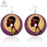 Люстра свисания Somesoor напечатанные ретро афро женщина деревянные серьги с каплями чернокожие женщины POS африканское искусство древесины украшения для леди подарки