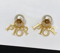 aretes de perlas de la moda para los amantes de la boda del partido señora de las mujeres joyería del contrato de regalo para la novia con la CAJA