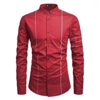 Дизайнер Mens сращивания Рубашка мужская с длинным рукавом нагрудные Одежда Solid Повседневный однобортный Homme Tops Spring