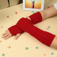 خمسة أصابع قفازات 2021 طويل محبوك أزياء أصابع النساء الشتاء الخريف المعصم الذراع اليد أدفأ الأسود القفازات handschoenen