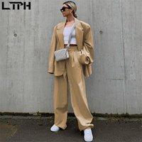 LTPH 2020 otoño nueva llegada ins de moda estilo de Inglaterra el juego ocasional mujeres de la chaqueta flojos simplee con color sólido pantalones pequeños