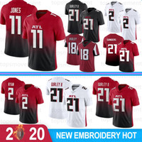 2 Matt Ryan 11 Julio Jones 21 Todd Gurley II Men calcio maglie 18 Ridley 21 Deion Sanders 24 Devonta Freeman 2020 Nuovo