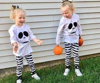 할로윈 키즈 2 개 조각 세트 긴 소매 후드 블라우스 탑 T 셔츠 줄무늬 바지 아기 소녀 운동복 가을 의상 스포츠 의류 LY917