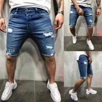 Männer Stretchy zerrissene dünne knielangen Jeans im Used Zerkratzt kurze Jeans Männer Slim Fit Jeans mit geradem Denim Plus Size