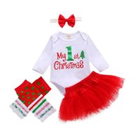 유아 유아 아기 소녀 크리스마스 의류 세트 2020 가을 가을 크리스마스 긴 소매 편지 바디 수트 투투 스커트 다리 따뜻한 Headb