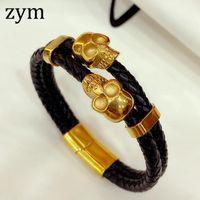 zymPopular marque en acier inoxydable de haute qualité Skull Bracelet bracelet en cuir rétro conception cuir hommes mode corde