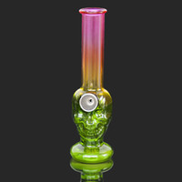 6.06 Inches Glass Bong Beaker Skull Shape Bottle Colorful Thick Glass Water Bong With Metal Bowl Ash Catcher Oil Dabbing Bubbler