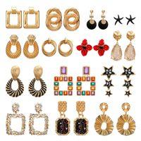 2020 annata orecchini di grandi dimensioni per la dichiarazione dei monili delle donne orecchini geometrica in metallo color oro orecchini di pendente di tendenza di moda
