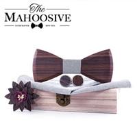 Lazos de arco corbata de madera Conjunto de pañuelos Hombres con gemelos Flores de solapa Floral Diseño de madera Caja de madera Moda Novedad