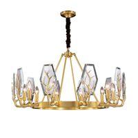 Lampadari moderni rame dell'oro LED Lampadario di illuminazione Ramificazione design rotondo di cristallo per soggiorno da letto Light Fixtures Indoor