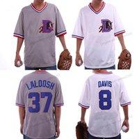 Custom Mens Bull Durham # 8 Crash Davis # 37 Jersey de baseball du film Ebby Laloosh Taille de gris blanc cousu 2xs-3xl