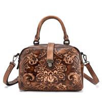 sacchetto di stile retrò cinese genuina delle donne di cuoio femminile totes della borsa a tracolla casuale albero dipinto a mano in pelle di pasta