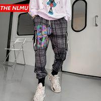 Hip Hop Plaid Joggers Pants 2020 Mens Harajuku Sweatpants Streetwear Reflective Letter Print Track Pants Harem Trousers WQ160