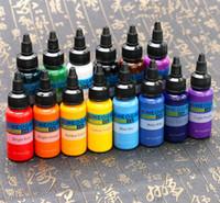 14 Botellas Tinta Profesional Tinta Tinta Suministro 1oz Tatuajes Negros Tinta 30ml Color Pigmento Para Tatto Accesorios De Maquillaje Permanente
