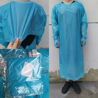 CPE Vestuário de protecção descartáveis Isolamento Vestidos Vestuário Ternos avental Elastic punhos Anti Poeira Outdoor descartável Raincoats CYZ2755
