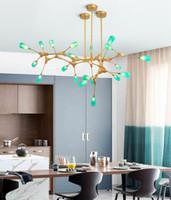 Nordic гостиная столовая зеленая Молекула люстра стекла фары современная отрасль железо искусство простой зеленый стекло подвесные светильники