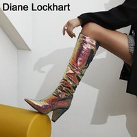 Slouch Wrinkle Women Boots Colorful Pointed Toe Thick Heels ...