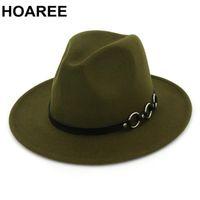 HOAREE Mulheres Fedora Hat Exército de lã verde Panama Jazz Hat Ladies Aba larga Tribby Sólido Outono Feminino Vintage chapéus de feltro